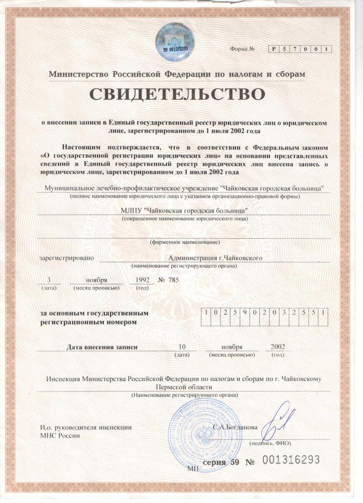 Свидетельство о внесении записи в ЕГРЮЛ от 10.11.02