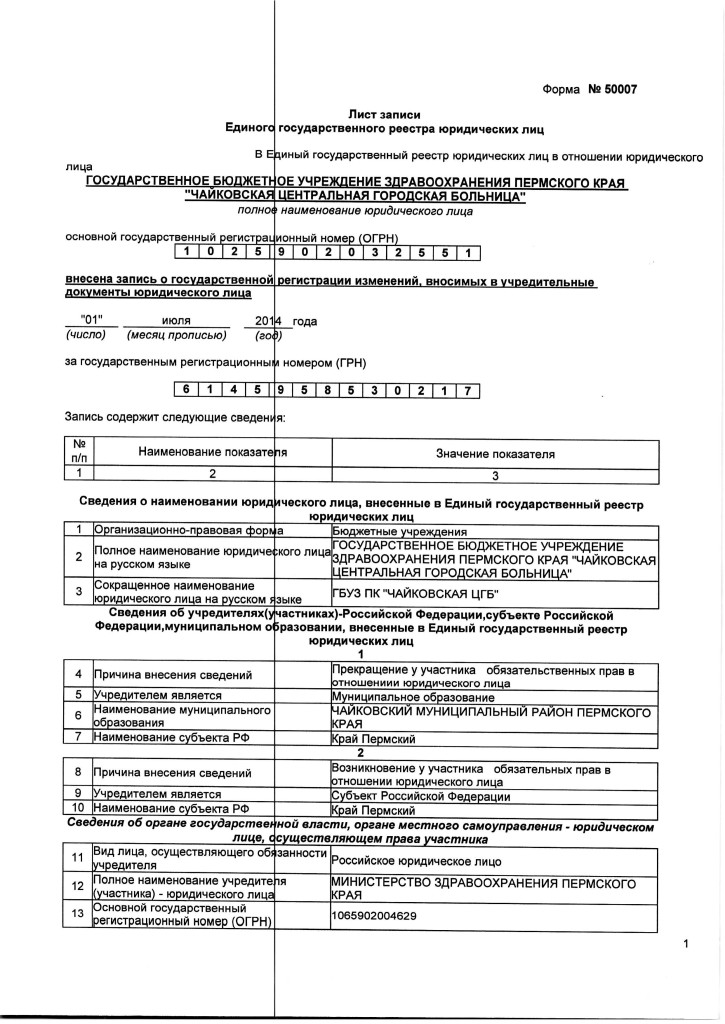 СимволикаЛист записи ЕГРЮЛ от 01.07.2014
